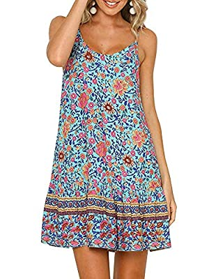 FEATURE: Bohemian Vintage Floral Printed Round O-neck, show your own sexy, lovely, cute and sweety. DESIGN: Backless,Head-Turning Design, ruffles hem, flowy swing tropical coquette and Hawaiian style OCCASION: This charming sundress fits for beach, d...
