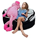 2 Sizes in 1 Large Bean bag Stuffed Animal Storage | XL Jumbo Ottoman for Soft Toys, Plush Toys | Giant Pouf Organizer for Linens, Quilts, Pillows | 300 L. / 80 Gal. | 42' | Black & White