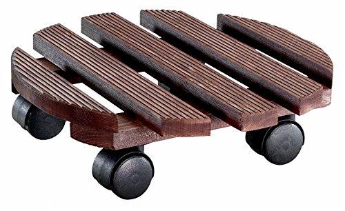 WAGNER Pflanzenroller - COUNTRY - Massivholz geriffelt, FSC, palisander, Durchmesser 30 x 8,2 cm, Tragkraft 100 kg - 20018301