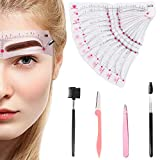 Eyebrow Stencils Shaping Kit Reusable Eyebrow Template with Strap, 12 Pieces with Eyebrow Tweezers and Comb, Eyebrow Knife and Brush, Eyebrow Trimmers for Women Girls