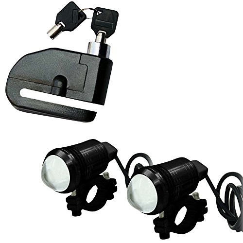 Vheelocityin Combo of Loud Alarm Security Bike Disk Lock with 2PC U1 LED Auxiliary Fog Light 1