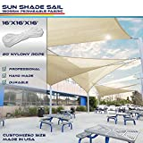 Windscreen4less 16' x 16' x 16' Sun Shade Sail Canopy in Beige with Commercial Grade (3 Year Warranty) Customized Sizes Available