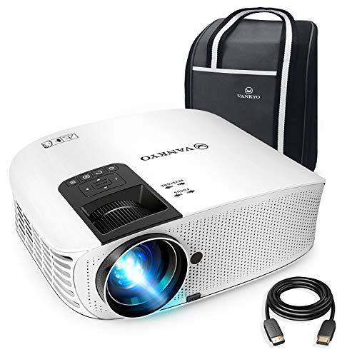 """VANKYO Leisure 510 Full HD Movie Projector, Video Projector with 200"""" Projection Size, Support 1080P HDMI VGA AV USB with Free HDMI Cable and Carrying Bag(White)"""