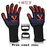 VF DONGFANG BBQ Gloves Extreme Heat Resistant 1472℉,Durable Food Grade Silicone Non-Slip Barbecue Grilling Gloves,Fire&Cut Resistant Kitchen Oven Gloves-1 Pair Long Cuff-13.8 inch with Meat Claws