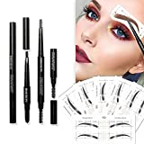 Eyebrow Stencils SET with 36 Pairs Eyebrows Shape Stickers Reusable for Women. Also 3-in-1 Black Eyebrow Pencil that includes Powder & Brush. Easy Eyebrow Grooming & Styling