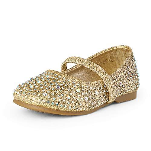 DREAM PAIRS MUY-Shine-INF Mary Jane Girls Rhinestone Studded Slip On Ballet Flats Toddler New Gold Size 6