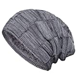 Senker Slouchy Beanie Knit Cap Winter Soft Thick Warm Hats for Men and Women, B-grey, One Size
