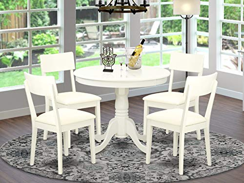 East-West Furniture Kitchen Dining Table Set- 4 Fantastic Wooden Dining Chairs - An Attractive...