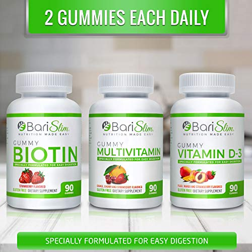 BariSlim Bariatric Multivitamin 3 Pack – (Multivitamin, Biotin, and D3) - Specially Formulated Gummy Vitamins for Patients After Weight Loss Surgery – 90 Fruit Chews per Bottle 6