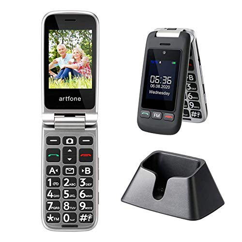 Artfone Téléphone Portable Senior à Clapet Débloqué, avec Grandes Touches, Bouton SOS, Haut Volume, Radio FM, Appareil Photo pour Personnes Ages (Ecran 2.4'', Dual SIM, Torche, Station de Charge)