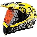 MotorFansClub Motorcycle Modular Full Face Helmet Off-Road Dirt Bike Motorcycle Flip Up Dual Visor Sun Shield Fit for Compatible with Adult (Lemon Yellow, Medium)