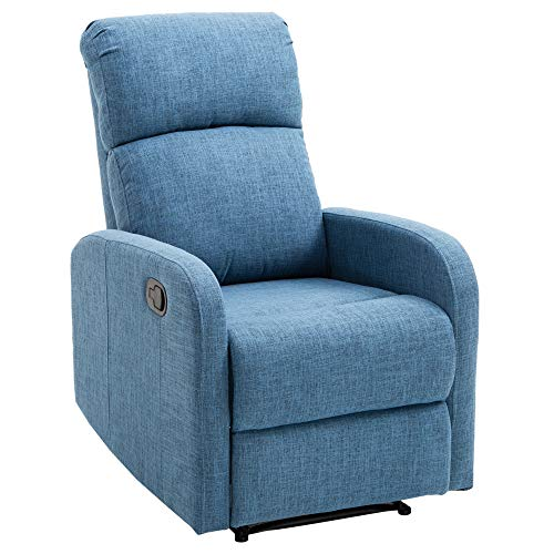 homcom Poltrona Relax Reclinabile Manuale con Poggiapiedi Portata 125kg Tessuto di Lino 66 × 83 × 107cm Blu