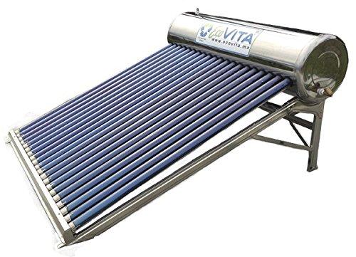 Calentador Solar de agua de 10 tubos con capacidad total de 130 lts 100% Acero Inoxidable - Sistema de Gravedad