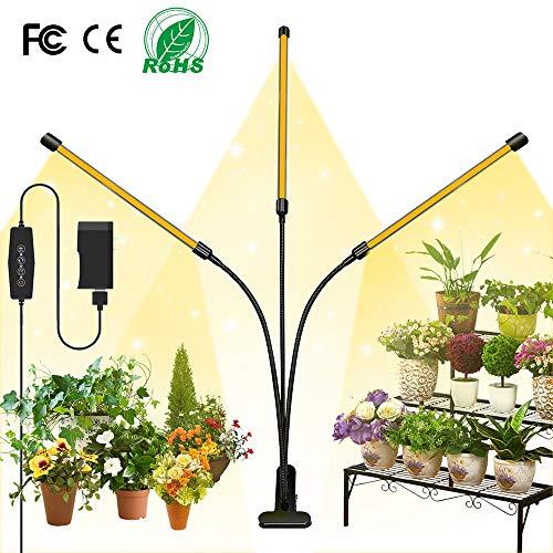 LNGOOR Pflanzenlampe LED, 54W Pflanzenlicht, 3 Heads 108 LEDs Pflanzenleuchte Wachstumslampe Wachsen licht Vollspektrum für Zimmerpflanzen mit Zeitschaltuhr, 3 Arten von Modus, 6 Arten von Helligkeit