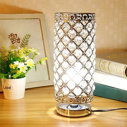 Lampe de Table en Cristal, abat-jour Lampe de chevet, Cristal de Mode Créatif Lampe de Table Argent avec Douille E27 (pas d'ampoule)