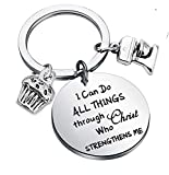 LQRI Baker Gift Pastry Chef Gift I Can Do All Things Through Christ Who Strengthens Me Keychain Baking Gift Culinary Student Graduation Gift (Sliver)