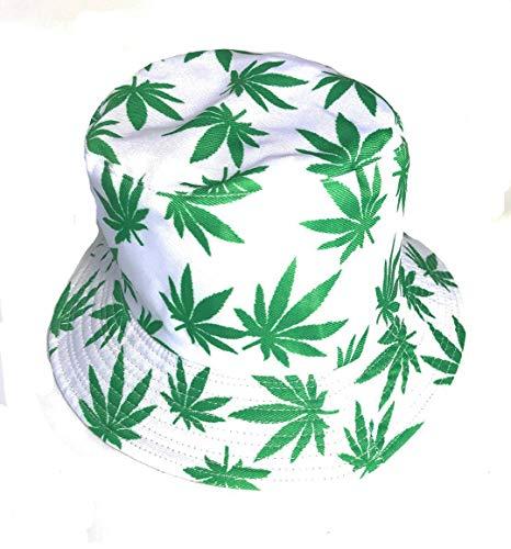 KGM Accessories Cool colorido cannabis hoja de cáñamo cubo sol sombrero verde