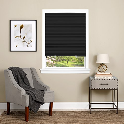 Achim Home Furnishings 123CO36B24 Cordless 1-2-3, 36' x 75', Black Vinyl Room Darkening Pleated Window Shade
