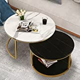 NSdirect Nesting Coffee Table Set of 2,Round Coffee Tables Modern Circle Table for Living Room Accent End Side Table with Storage Open Shelf Wooden Top & Gold Sturdy Metal Frame(White&Black)