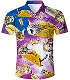TUONROAD Camisa Hombre Funny 3D Gato Taco Camisa Hawaiana Manga Corta Verano Casual Shirt M