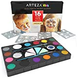 Arteza KIDS Palette maquillage enfant   Face painting avec pochoir maquillage, éponge, pinceau, paillettes   16 couleurs de peinture visage enfant non toxique   Tutoriel gratuit   Séchage rapide