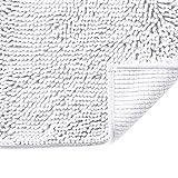 Pure White Bath Rug Super Soft Microfiber Non Slip Mat Absorption Shaggy Shower Rugs for Bathroom, Easy Care Machine Wash, 17 x 24 Inch