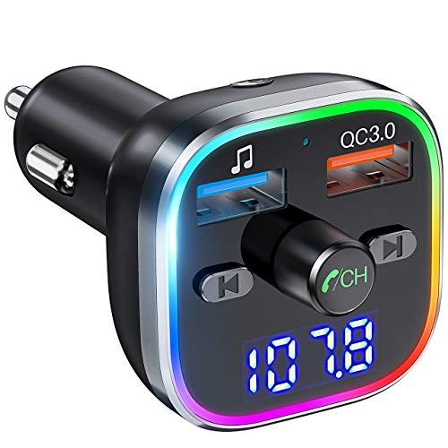 Weback Bluetooth FM Transmitter for Car, BT 5.0 &QC3.0 Wireless Bluetooth Car Adapter Music Player Car Kit with LED Backlit, Hands-Free Calling, 2 USB Ports, Hi-Fi Music, Support U Disk/TF Card