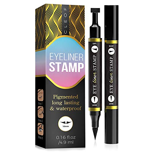 Eyeliner Stamp  Winged Eyeliner in Seconds  Easy to Use, Waterproof & Smudge Proof, Long Lasting Liquid Black Eye Liner Pen,Cruelty Free,Vegan & Paraben Free - for Perfect Cat Eyes - Classic (10 mm)