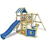 WICKEY Aire de jeux SeaFlyer Portique de jeux en bois avec balançoire, mur...