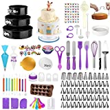 380 PCS Cake Decorating Kit Supplies Baking Set with Springform Pans, Turntable, Icing Tips for beginners