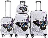 BEIBYE Valise de Voyage Valise Rigide Trolley Serrure à Combinaison Polycarbonate Set-XL-L-M-Sac Valise (Motifs Papillons, 4er Set(XL+L+M+S))