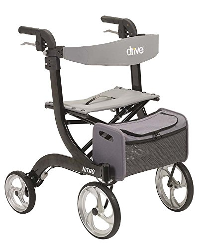 Drive Medical Nitro Euro Style Black Rollator Walker, Black, Standard seat Height (20.5')