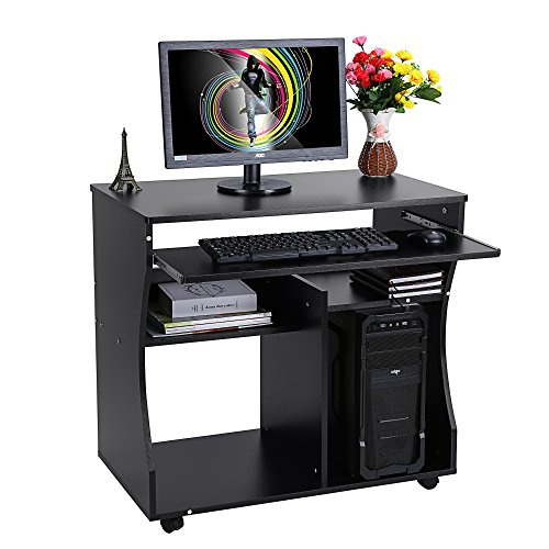 Yosoo - Escritorio para ordenador y oficina con repisa corrediza para teclado, con ruedas, negro, 86x76x54cm