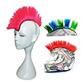 3T-SISTER Helmet Mohawk Wig Motorcycle Adhesive Mohawk Hair Patches Skinhead Costumes Wig-Pink