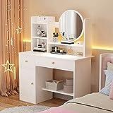 WSJIANP Coiffeuse avec Miroir, Style Moderne Table de Maquillage avec 1 spacieux...