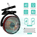 AMZGO Portable Camping Lantern Clip on Fan, Tent Fan with Hook, Battery Operated 4 Speed Quiet Desk Fan, USB Rechargeable 5000mAh Battery, Mini Fan Night Light for Camping, Travel, Home, Office