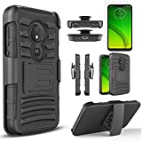T-Mobile Revvlry Case, Moto G7 Play / Optimo XT1952DL Case, with [Tempered Glass Screen Protector Included] Drop Protection [Combo Holster] Rugged Belt Clip Phone Cover with Built-in Kickstand -Black