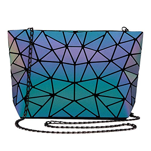 【UNIQUE GEOMETIIC MATERILA】Made from Geometric Holographic Reflactive Pu Leather.Color changes Under different light make this handbag be the unique bag. 【BACKPACK WITH PURSE SET】 Buy one Backpack With the same design Purse set match your daily life come with a gift keychain too make your better match 【LARGE CAPACITY】 Large inside size, tablet,wallet and makeup can be well Organized inside. 3 small pocket inside ,1 with zipper help you to separate your small and important stuff which can better protect your private items ,Easily Hold All You Stuff of Daily Use Such as iPad,Cosmetic,Umbrella,Wallet,Keys,Phone etc.