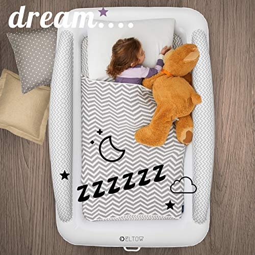 Product Image 6: Eltow Inflatable Toddler Air Mattress Bed With Safety Bumper - Portable, Modern Travel Bed, Cot for Toddlers - Perfect For Travel, Camping - Removable Mattress, High Speed Pump and Travel Bag Included