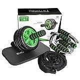 GYMBOPRO 4-in-1 Roue Abdominale AB Wheel Roller Pro de Fitness et Musculation de Corp-Appareil Abdominal Munit d'Un Tapis Epais pour Genoux
