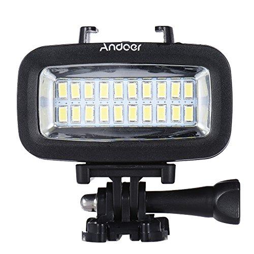 Andoer Luce Subacquea LED per GoPro SJCAM Xiaomi Yi Action Cam Canon Nikon Sony Fotocamera DSLR Impermeabile 40M 700LM Built-in Batteria Ricaricabile con Diffusore