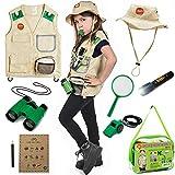 Born Toys Premium Outdoor Explorer Kit for Kids for Dress Up & Pretend Play Costumes for Boys & Girls 3-7 w/ Washable Kids Safari Vest Safari Hat and Binoculars- Outdoor Explorer Set & Scavenger Hunt