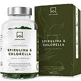 Cápsulas de Espirulina y Chlorella [1800 mg/Dosis Diaria] 200 Comprimidos - Fuente de Vitaminas,...