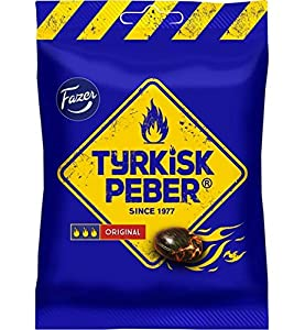 Fazer Original Liquorice Tyrkisk Peber is a salty liquorice classic with a peppery kick, and itfs has been a big hit ever since its launch in 1977. The salty liquorice shell of Tyrkisk Peber Original sweets hides strong salty liquorice powder. Suitab...