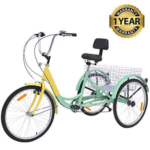 Slsy Adult Tricycles 7 Speed, Adult Trikes 24 inch 3 Wheel Bikes, Three-Wheeled Bicycles Cruise Trike with Shopping Basket for Seniors, Women, Men.