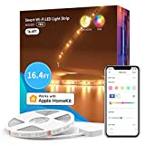 meross Smart Pro LED Strip Lights, 16.4ft RGBWW WiFi LED Strip Work with Apple HomeKit, Alexa, Google Home and SmartThings, Warm and Cool White, Led Lights for Bedroom, TV, Party [Upgrade Version]