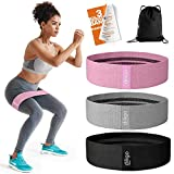 Fabric Booty Bands - Non Slip Resistance Bands Set for Legs and Butt with Portable Bag - Wide Hip...