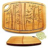 Planche à découper Bambou 100% Bio Double Face - Saine Design & Résistante - Zéro Déchet -...