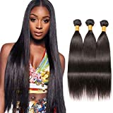 BK Beckoning Long Straight Hair 3 Bundles 26 28 30 Inch 100% Brazilian Unprocessed Human Hair Weave Extensions Natrual Color For Women