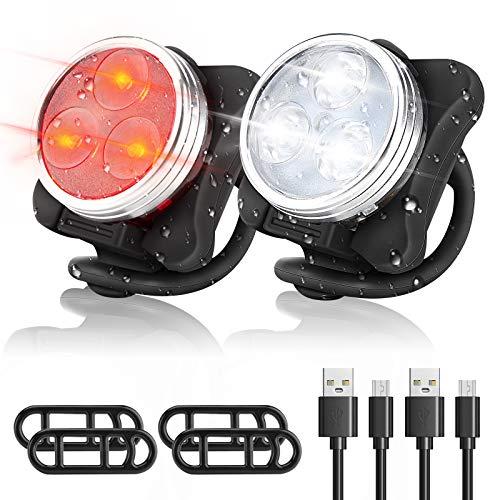 WOTEK Luci per Bicicletta LED Ricaricabile USB - Luci Bici Anteriore e Posteriore Luci MTB Impermeabile 4 modalit di Luminosit 350LM Super Luminoso Luce Bici Avvertimento per Bici Strada e Montagna